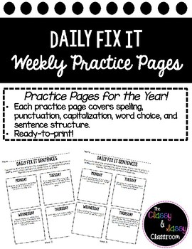 30 Weeks of Bellwork Daily Fix It Grammar, Spelling, Sentence Structure
