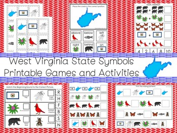 30 West Virginia State Symbols themed Learning Games Download. ZIP file.
