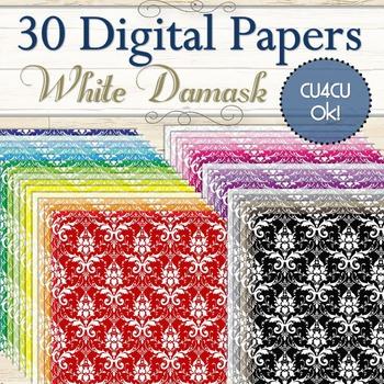 30 White Damask Digital Papers (Cu and Cu4cu OK) - INSTANT
