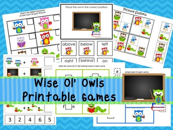 30 Wise ol' Owls Games Download. Games and Activities in PDF files.