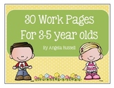 Preschool Work Pages - 30 Total