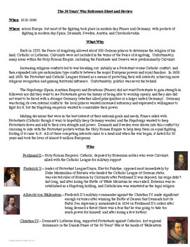 30 Years' War Reference Sheet and Review