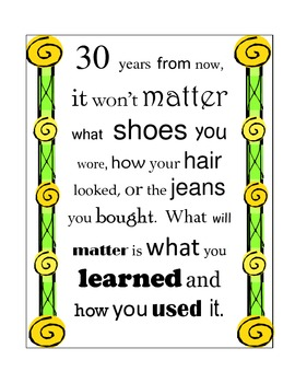 30 Years From Now Quote / Printable Poster