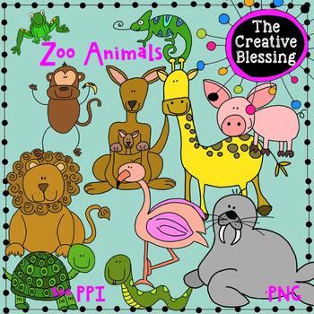 11 Zoo Animal Clip Art (Hand Drawn)