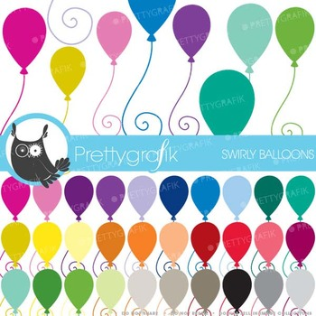 30 balloons clipart commercial use, vector graphics, digital clip art - CL465