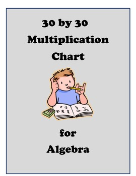 30 by 30 Multiplication Chart for Algebra Students
