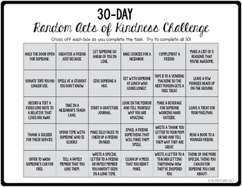 30-day Random Acts of Kindness Challenge
