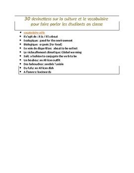 30 devinettes pour faire parler les étudiants