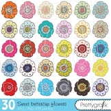 30 flower clipart commercial use, vector graphics, digital clip art - CL503