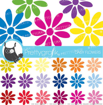 30 flower daisy clipart commercial use, vector graphics - CL461