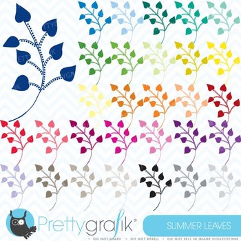 30 flower leaves clipart commercial use, vector graphics - CL468