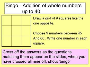 30 games Maths Bingo