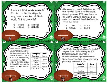 Football Frenzy Task Cards | TEKS 4.5B, 4.8B, 4.8C, and 5.7A