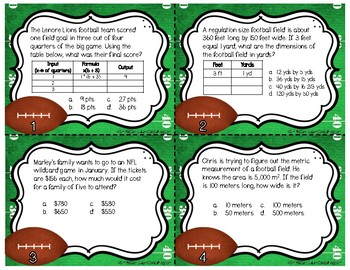 Football Frenzy Task Cards | TEKS 4.5B, 4.8B, 4.8C, and 5.7A