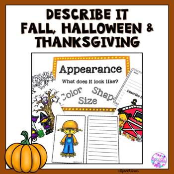 Speech and language Therapy Descriptive Skills:  Fall, Halloween & Thanksgiving