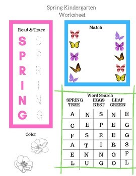 30 pages Spring Kindergarten Worksheets