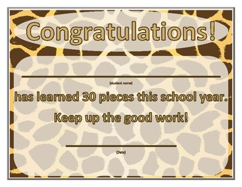 30+ piece certificates - zoo themed