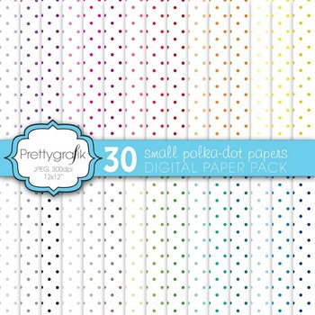 30 polka dot digital paper, commercial use, scrapbook papers - PS580