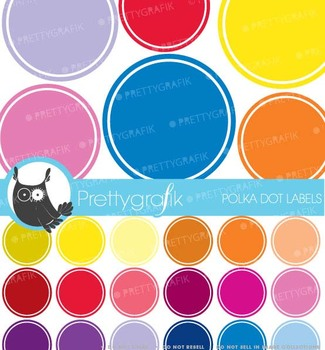 30 polka dot label clipart commercial use, vector graphics - CL466