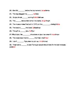 30 question homophone quiz. Grades 3-5