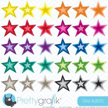 30 star burst clipart commercial use, vector graphics, digital clip art - CL471