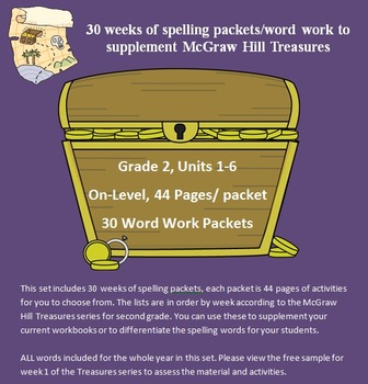 30 weeks of spelling packets for McGraw Hill Treasures - 2nd Grade - On-Level