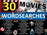 30 x Famous Movies Wordsearch Sheet Starter Activity Keywo