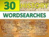 30 x History Wordsearch Starter Activities Cover Homework Keyword Settler