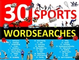 30 x Sports Wordsearches PE Fitness Health Starter Settler Activity Homework
