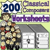 300 Composer Worksheets - Tests, Quizzes, Reviews, Sub-Work & Homework!