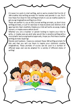 Back to School - 300 FUN & CREATIVE WRITING PROMPTS FOR KIDS - worksheets