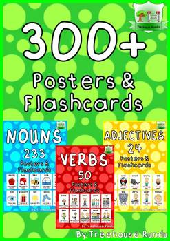 300+ NOUNS - VERBS - ADJECTIVES - Poster and Flashcards ESL