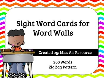 300 Sight Word Cards for Word Walls