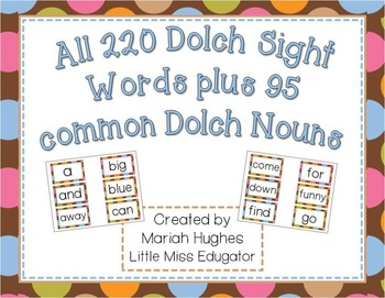 300+ dolch sight words for word wall - Multi-Colored Polka Dots on Chocolate