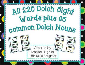300+ dolch sight words for word wall- Multi-Colored Polka Dots on Black Themed