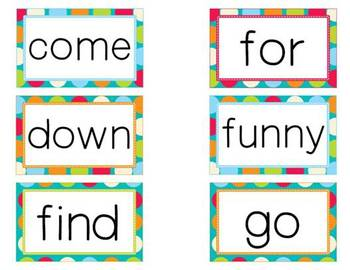 300+ dolch sight words for word wall- Turquoise and Multi-Colored Polka Dots