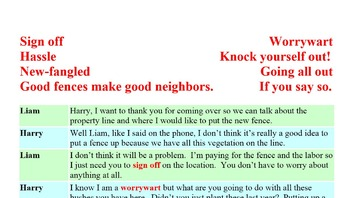 3003 Good Fences - American Idiomatic Expressions Conversation Role Play