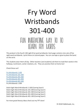 301-400 Sight Words Wristbands