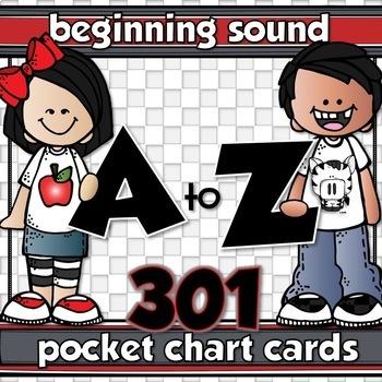 301 BEGINNING SOUND POCKET CHART CARDS & 33 HEADERS