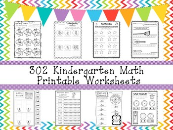 302 Kindergarten Math Worksheets Download.  ZIP file.
