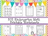 302 Kindergarten Math Worksheets Download.  ZIP file.