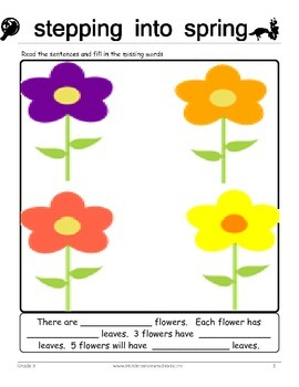 305 Spring Themed Math & Word Problems, Grade 3