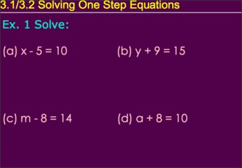 3.1-3.2 Solving One-Step Equations