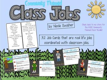 31 Classroom Jobs: Community Theme (blank templates included)