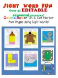 31 Editable Seasonal Color-a-box Sight Word Worksheets!