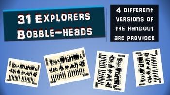 31 Famous Explorers Bobble-heads Activity: handouts & PPT included