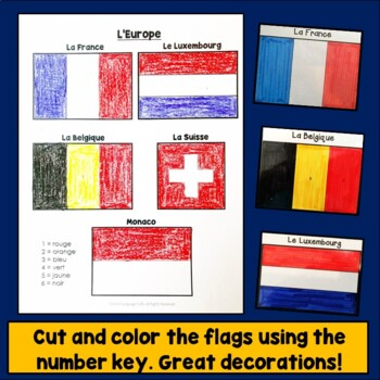 French Speaking Countries Flags:  Color by Number, Francophone Countries
