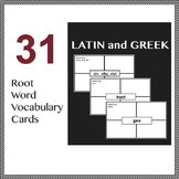 31 Latin and Greek Root Words Vocabulary Cards