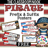 Pirate Theme: Prefix and Suffix Mini Posters with Definitions (FREE)