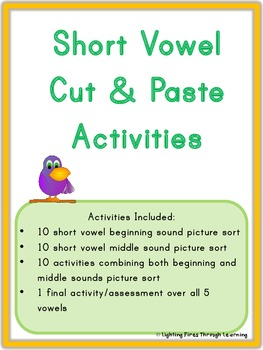 31 Short Vowel Cut & Paste Activities